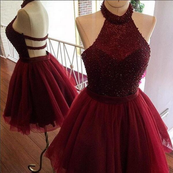 Party Dress, Burgundy homecoming dress,a line homecoming dress,halter party dresses,beading short prom dress,women homecoming dress