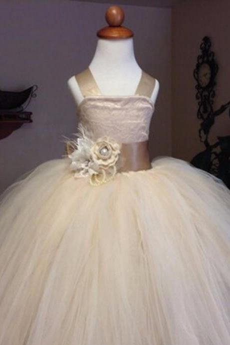 vintage lace rustic champagne color spaghetti straps fluffy tulle ball gown flower girl dresses for weddings evening party Kids