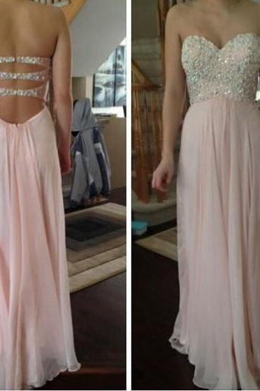 Charming Prom Dress,A-Line Prom Dress,Beading Prom Dress,Chiffon Prom Dress,Sweetheart Evening Dress