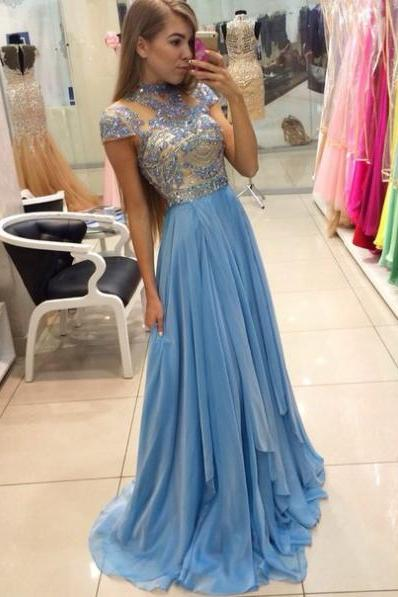 Charming Prom Dress, High-Neck Prom Dress,A-Line Prom Dress,Chiffon Prom Dress,Beading Evening Dress