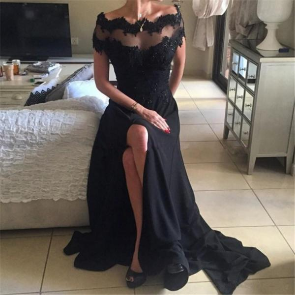 2017 Zipper Applique Chiffon Floor-Length Off-the-Shoulder A-line Homecoming Dress Customized Dresses